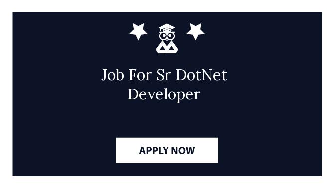 Job For Sr DotNet Developer