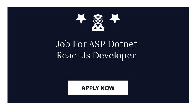 Job For ASP Dotnet React Js Developer