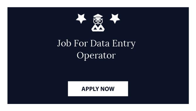 Job For Data Entry Operator